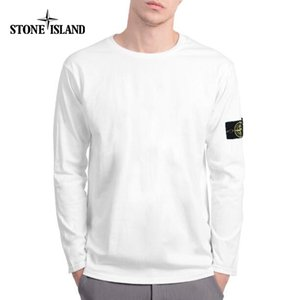 Autumn Fashion Round Neck stone Cotton island Men T-shirts Solid Color Long Sleeve Casual Bottoming Shirt Loose Tops