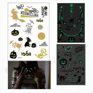 9 스타일 할로윈 장식 빛나는 문신 스티커 2019 문신 스티커 수입 플라스틱 형광 발광 스티커 148X208mm