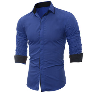 2018 spring and summer classic dark placket hit color edging men's casual long-sleeved shirt Slim 5226
