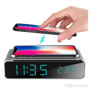 Zaman Bellek ile Telefon Kablosuz Şarj Masaüstü Dijital Termometre Saat HD Ayna Saat ile 2020 Elektrikli LED Çalar Saat