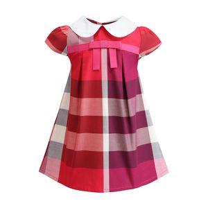 INS vestito dalla ragazza dei vestiti nuove ragazze di estate di arrivo breve risvolto manica vestire i bambini del bambino del cotone di alta qualità grande fiocco plaid vestito BY0804