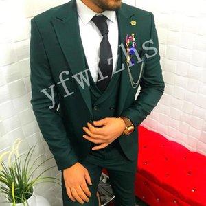 Classic One Button Handsome Groomsmen Peak Lapel Groom Tuxedos Men Suits Wedding Prom Best Man Blazer ( Jacket+Pants+Vest+Tie) W86