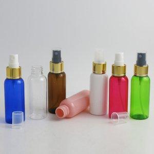 50 x 50 ml portátil botella de perfume de plástico de 50 cc Ronda hombro de aluminio Atomizador 5 / 3oz linda rociador de la niebla medias de la cubierta de oro