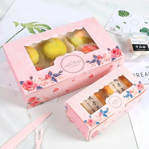10PCS 2 4 6 Pack Mini Mooncake Paper Gift Box Transparent Window Candy Cookies Cake Box Wedding Favor Gift Bag Party Decor