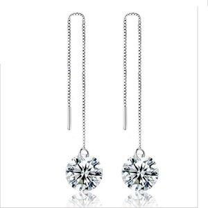Orecchini d'argento Vendita calda di cristallo Goccia ciondola gli orecchini del candeliere per il commercio all'ingrosso libero dei monili di modo del partito della ragazza 0052WH