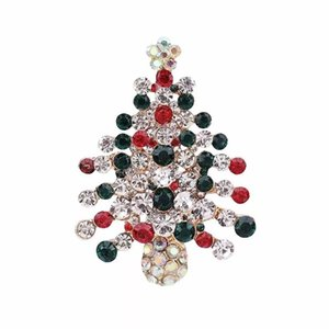 Colorful Rhinestone Crystal Christmas Brooch Pin With Christmas Tree Brooches For Women Girl Gifts