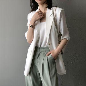 2020 Femmes Casual Blazer Blazer Turn Collier Femmes Spring Spring Manteau à moitié manches Summer Bureau Style Blazer Casaco Feminino Outwear