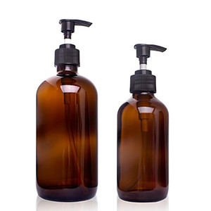 Large Capacity 250ml   500ml Amber Glass Shampoo Empty Lotion Container Foam Pressed Pump Bottle For Soap Shower Gel