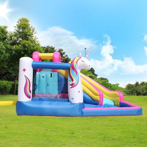 Indoor Outdoor Günstige Unicorn Slide Aufblasbare Wasserrutsche Einhorn Thema Aufblasbare Bounce Haus Bouncer Schloss Wasserrutsche mit Luftgebläse