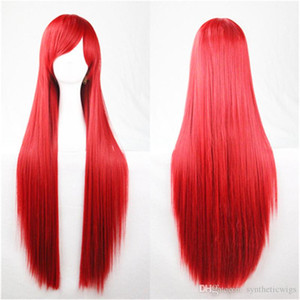 80 centimetri 32 pollici Parrucche da donna Verde Nero Arancione Rosa lungo rettilineo Cosplay 80cm parrucca grigia Biondo Marrone Blu Rosso Argento Viola parrucche sintetiche