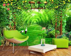 Custom 3d Landscape Wallpaper Fresh Flower Stand Bamboo Forest Arch 3D TV Background Wall Living Room Bedroom Wallpaper