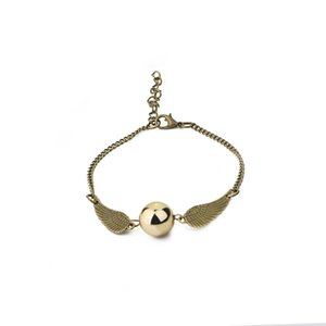 2020 Fashion Ha Po Personalized Angel Wing Golden Ball Charm Bracelet For Women Snitch Gold Femme Bijoux Homme Bangles