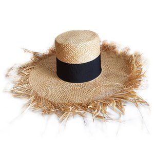 Spring Summer Floppy Raffia Beach Hat Fringed Straw Hats Wide Brim Sun Hat Double Visor Caps Black Band Flat Top Hats