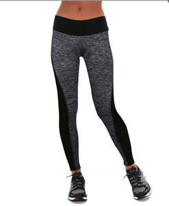 2019 Spring and Autumn Black-and-grey Stitching, Hip-up Stretch, High-waist Bottom Pants, Fitness Exercise Yoga Pants Slim