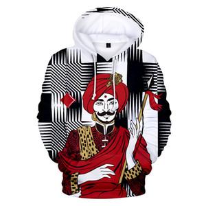 카드 놀이 포커 재미있는 패턴 인쇄 3 차원 후드 풀오버 패션 남성 여성 까마귀 까마귀 캐주얼 롱 슬리브 후드 티셔츠