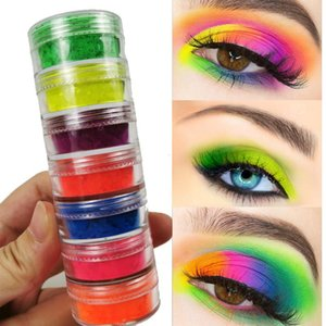 Hot Neon Ombretto alta Pigment Loose Powder 7colors Giallo Verde Blu Ombretto Polvere Long Lasting Occhi Mkeup 7pcs / set