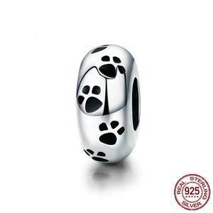 100% Authentic 925-стерлингов серебряные собаки животных Footprint очаровывает свободные шарики приспосабливать Пандора браслет ювелирных изделий DIY 2019 YMSCC594