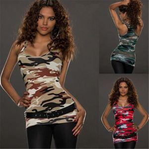 S-4XL Plus Size Tops Women Running Vest Summer Tee Camis Sportswear Tank Tops Sleeveless Sports Shirt For Women Camouflage Tanks