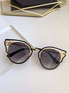 DHELIA Gold Black Metal Lace Gradient Cat Eye Sunglasses occhiali da sole Shades Women Designer Sunglasses New with Box