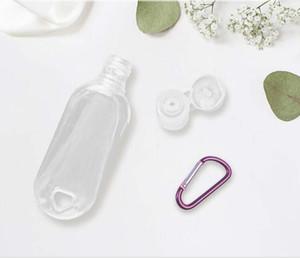 30ml / 50ml / 60ml libera di plastica di portachiavi con disinfettante Bottiglie mano riutilizzabili Bottiglie vuote Contenitori Spremere portatili con flip Cap HWB2979