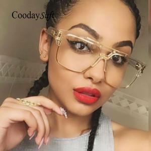 Luxury-Coodaysuft Markendesigner Übergroßen Männer Sonnenbrille Frauen Flat Top Sonnenbrille Rahmen Platz Männlich Klar Transparent Männlich Weiblich