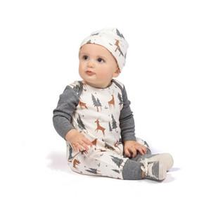 2019 Lindo Bebé de Navidad Ropa de Bebé Ropa de Manga Larga Ciervos Impresos Mamelucos Del Bebé Recién Nacido Mono Niño Niños Ropa para niños trajes