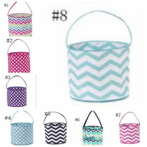 23styles Striped Easter Basket Canvas Rabbit Buckets Easter Bunny Bags Plaid Egg Candy Baskets Wave Bunny Tote Party Supplies GGA3191-2