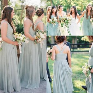 V-neckline Sage Long Bridesmaid Gown Chiffon Skirt 2020 Full Length Pleated Bohemian Countryside Beach Junior Wedding Guest Dress