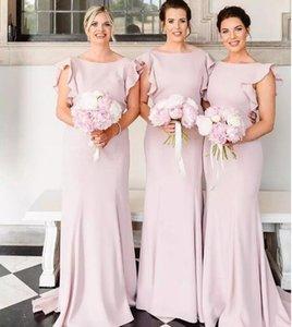 de 2019 Sexy Blus rose sirène robes de demoiselle d'Ruffled longues Robes de mariée Appliques robes de soirée pour les occasions formelles