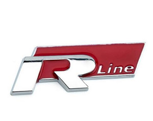 Pegatina de calcomanía Auto Metal Metal 3D Sticker Emblema R Line Insignia para Volkswagen VW Golf GTI Beetle Polo CC Touareg Tiguan Passat Scirocco