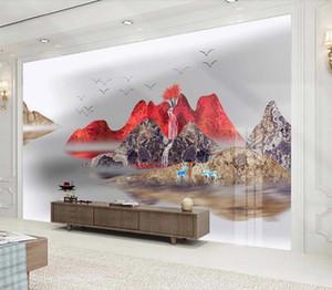 Китайский стиль пейзаж абстрактная линия летающий птица 3D обои Mural Гостиная Спальня ТВ Фоновая Home Decor Шелковые обои
