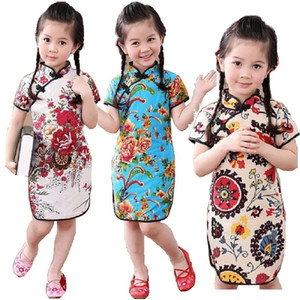 Rose Floral Baby Girls Qipao Dress Chinese Traditional Chi-pao Fashion New Year Children Dresses Kids Cheongsam Linen Clothes T200624