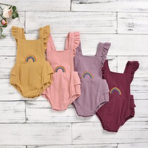 Toddle Dreieck-Spielanzug-Baby-Mädchen-Regenbogen-Stickerei Jumpsuits Kids Lace-up-Quadrat-Kragen Fly Sleeve Onesies Newborn Playsuits AYP709