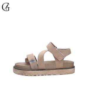 de GOXEOU Mulheres Sandals Khaki Suede Roman Grosso Sole confortável Casual Praia Shoes c15