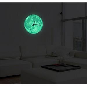 30cm 빛나는 문 벽 시계 방수 Pvc 아크릴 빛나는 교수형 시계 문 시계 거실 침실 장식 Q190429