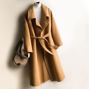 300% Pure Laine Manteau Femme 2020 coréenne Mode double face Laine Femmes Manteaux longs Automne Hiver Veste avec ceinture 3604032