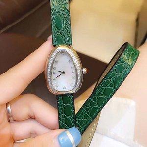 28 MM Moda elegante para mujer Relojes Oval Dial Doble envoltura Banda de cuero verde Diamante Bisel Reloj para mujer Movimiento de cuarzo Relojes