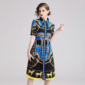 Marca las mujeres del diseño del verano del vestido del partido ajustado de poliéster elegante casual de la corto manga Mediodía con la correa de la camisa OL de los vestidos de trabajo