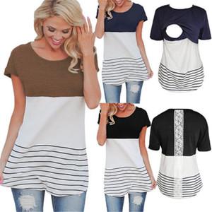 Mulheres na moda roupas amamentação Enfermagem em torno do pescoço de manga curta T-shirt de algodão pullover Tops listrado Lace