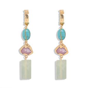 diseñador de moda de lujo color turquesa de piedra larga borla gota de la lámpara cuelga los pendientes geométricos para mujer niñas