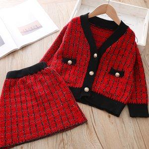 Crianças Meninas Sweater Set Outono Inverno quente grossa roupa feita malha Set moda menina roupa clássico crianças Suit Cardigan e saia