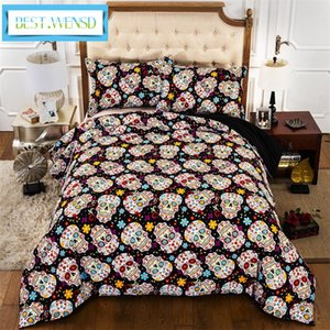 housse de couette Flower Skull Duvet Cover + bed sheet + pillowcase Bedding Sets queen king size Halloween Bedspread bed kaktus