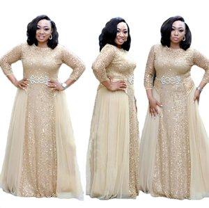 Oversize africano girocollo perline paillettes maniche lunghe una linea di pavimento di Tulle di lunghezza del merletto del partito di nozze maxi abiti da sera lunghi
