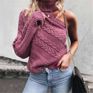 Модные Женщины одежды с длинным рукавом трикотажных одно плеча свитером твердых черепаха шеи свитера трикотажного One Shoulderc