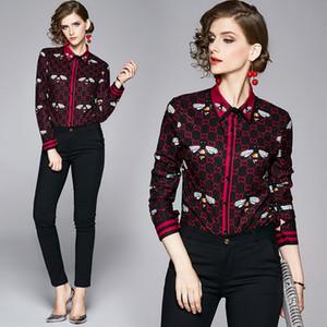 Super popular ol mulheres escritório casual camisas de mangas compridas 2020 primavera queda de queda de luxo impressão senhoras desenhador blusas botão slim tops