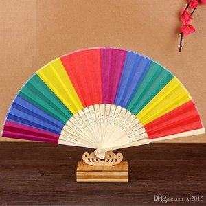 New Arrival Chinese Style Colorful Rainbow Folding Hand Fan Party Favors Wedding Souvenirs Giveaway For Guest