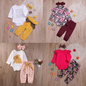 Baby Girl Vêtements Ensembles Vêtements pour enfants fille col rond manches longues couleur unie Pantalon Bandeau Trois pièces Ensembles 060718