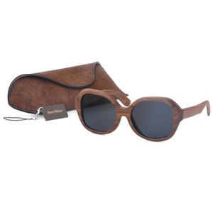 BerWer Preto Noz De Madeira Polarizada Óculos De Sol Dos Homens de Proteção UV Do Vintage eyewear mulheres óculos De Bambu com presente caso de cortiça