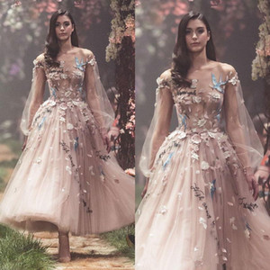 Real Paolo Sebastian spring Prom Dresses Long Sleeves Flower Embroidery Party Evening Gowns Appliques Ankle Length Tulle Formal Wear