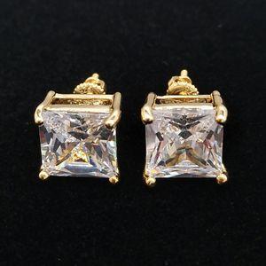 الأزياء 18K الذهب الهيب هوب مثلج خارج CZ ساحة مكعب الزركون أقراط 0.4 0.7 0.9 سم هدايا للرجال كامل الماس الأزرار القرط مغني الراب مجوهرات